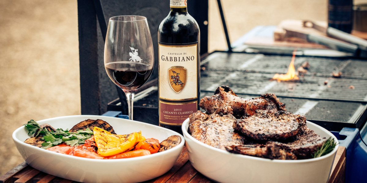 Gabbiano wine with grilled steak