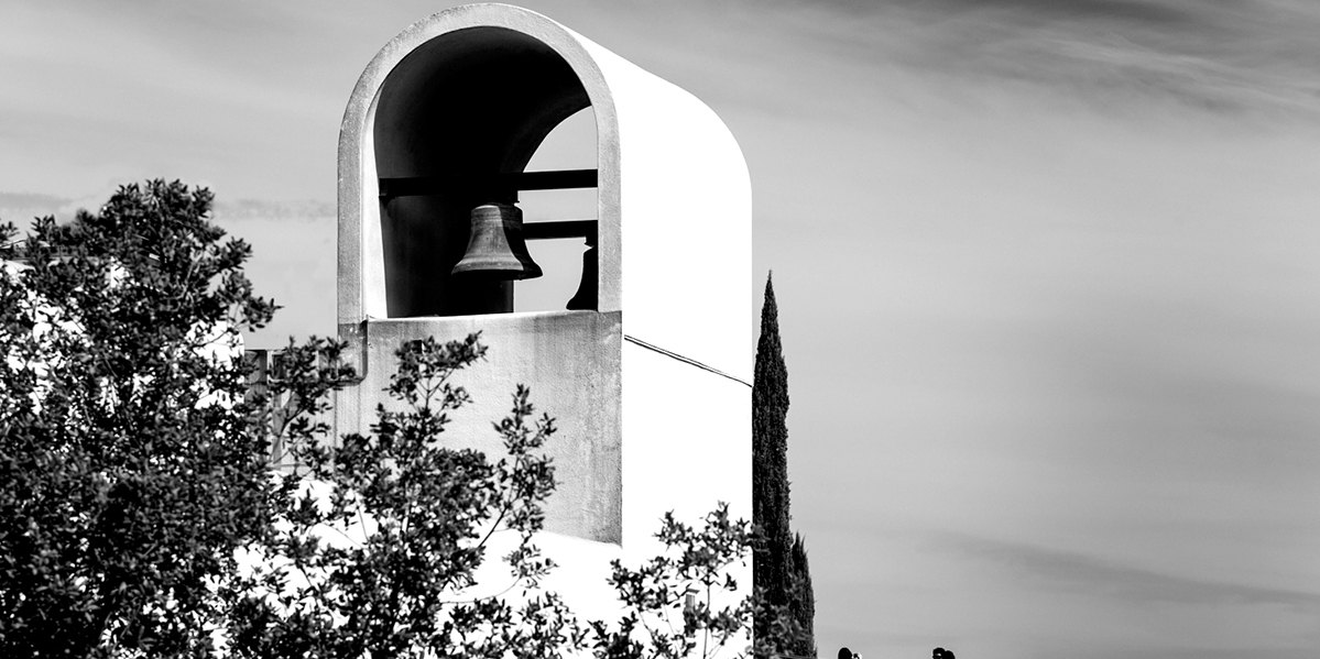 Black and white picture of Sterling Vineyard bell tower
