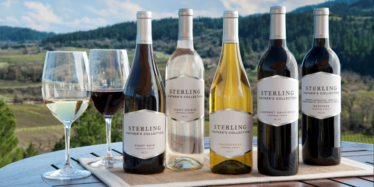 Sterling wine bottles with vineyard background