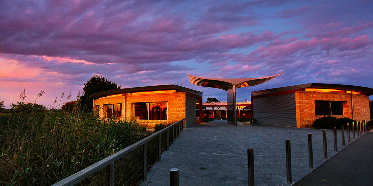 Wolf Blass Cellar Door at night