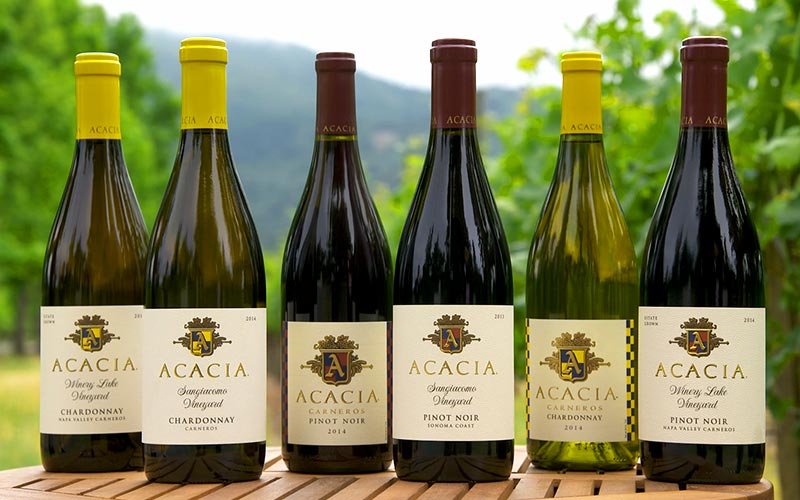 acacia vineyard pinot noir and chardonnay wine lineup