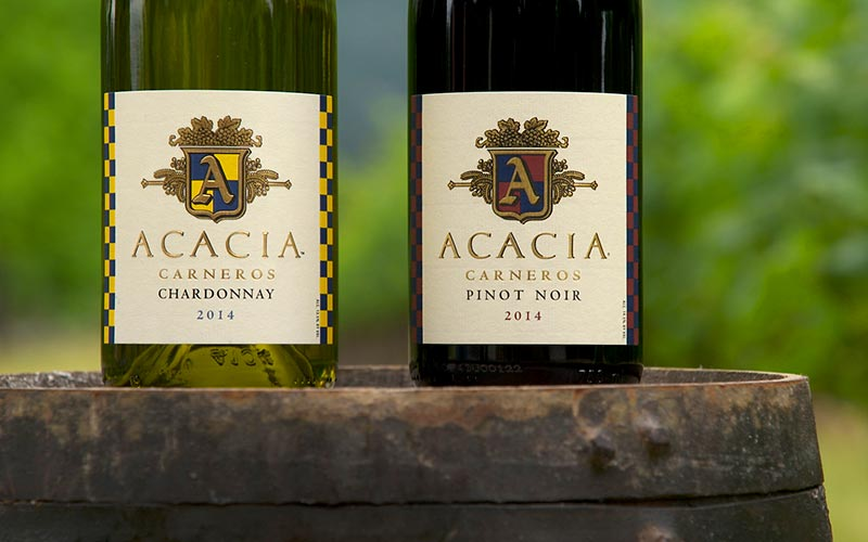 acacia vineyard los carneros pinot noir and chardonnay bottle labels