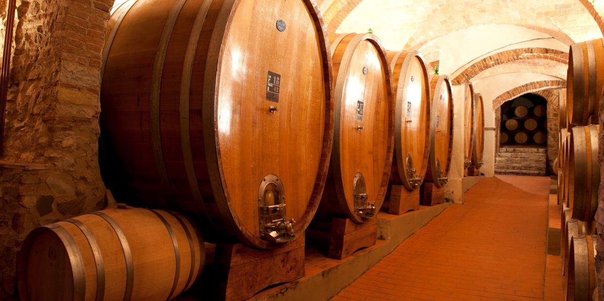Cellar with large wine barrels