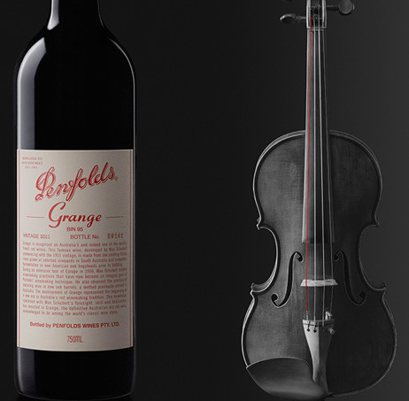 Bottle of Penfolds Grange with a violin