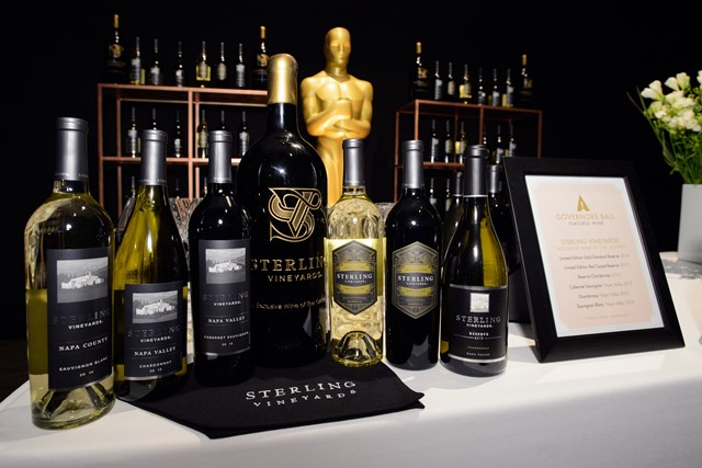 Sterling Vineyards red and white wines with Oscar statuette